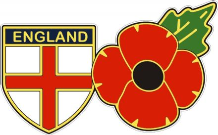 England Shield Flag And Poppy Car Window Sticker